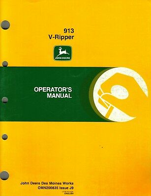 John Deere 913 V-ripper Sub-soiler Operators Manual Jd New