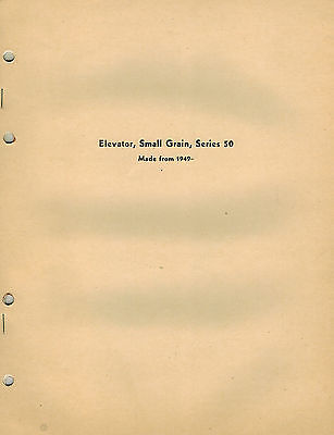 John Deere Vintage Small Grain Elevators Parts Manual Jd Pc-067-
