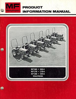 Massey Ferguson 205 210 220 Tractors Product Information Manual