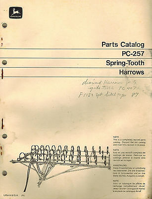 John Deere Vintage Spring Tooth Harrows Parts Manual Jd Pc-257