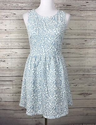White Floral Pot - Potter's Pot Women's Blue / White Floral Sleeveless Textured Dress Size Medium