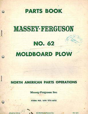 Massey Ferguson 62 Moldboard Plow Parts Manual 1962