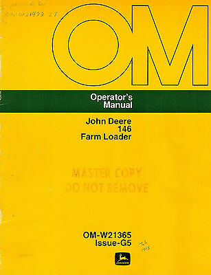 John Deere 146 Farm Loader Operators Manual New Jd