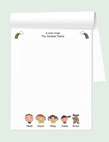 """""""FAMILY FACES"""" PERSONALIZED NOTEPAD"""