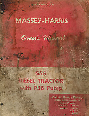 Massey-harris Vintage 555 Tractor Owners Manual Form No. 694409m91 Original