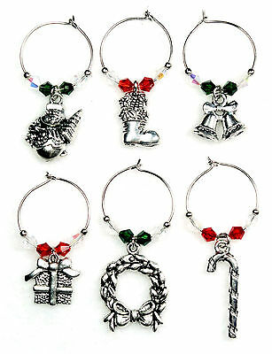 Wine Glass Charms / Markers - HOLIDAY #10 - Set of 6 NEW! FREE SHIPPING  ()