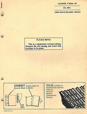 John Deere Vintage 45 Farm Loader Parts Manual Jd Pc484