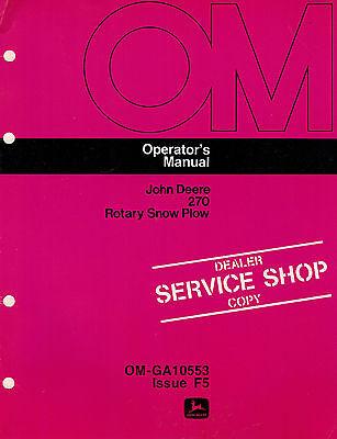 John Deere 270 3-point Rotary Snow Plow Snowblower Operators Manual Jd New