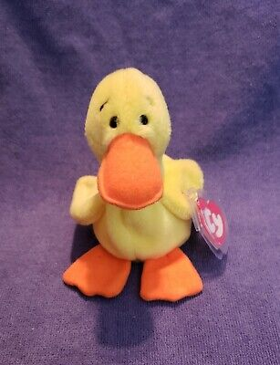 3RD GENERATION Ty Beanie Baby *QUACKERS* the Duck MINT W/TAGS-1ST GEN TUSH TAG (Duck Quackers)