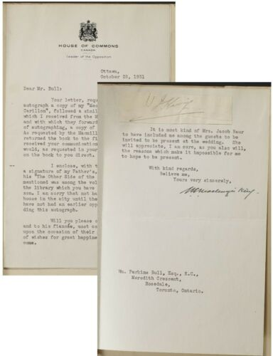 WL Mackenzie King 1931 Letter signed+Father