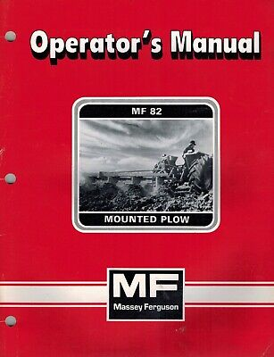 Massey Ferguson 82 Mounted Plow Operators Manual New