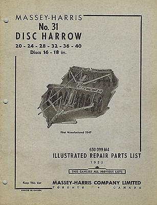 Massey-harris Vintage 31 Disc Harrow Parts Manual 1953