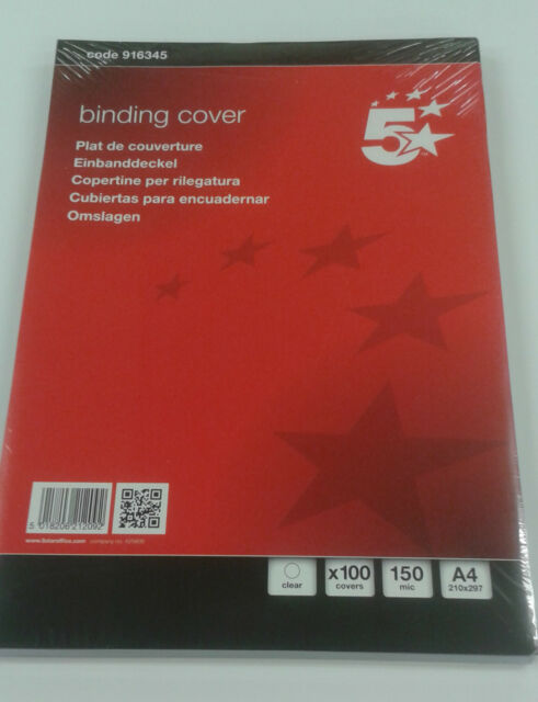 5Star A4 Clear PVC Binding Covers 150micron (Pack of 100)