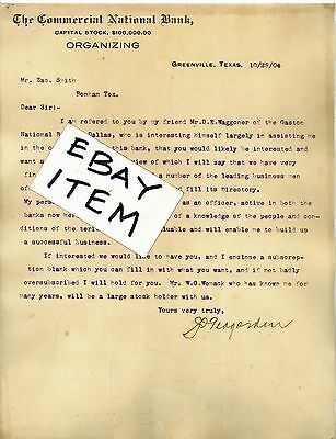 1904 Letterhead National Bank Greenville Dallas Texas Joseph Oswin Joe Teagarden
