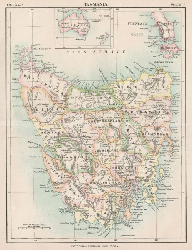 1888 Encyclopedia Britannica Map of Tasmania, Australia