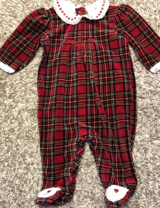 VTG Baby Girl First Impressions 3-6 Mos Velvet Plaid Christmas One Piece Outfit