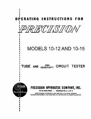 Precision 10-12 And 10-15 Tube Tester Manual Reprint 36 Pages Of Test Data