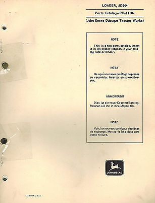 John Deere Vintage 644 Series Wheel Loader Parts Manual Pc-1110