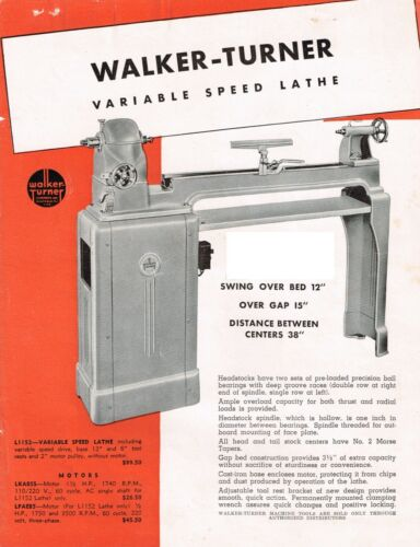 WALKER TURNER Series 900 & 1100 Lathes L951, L-952, L1152 Lathes Manual