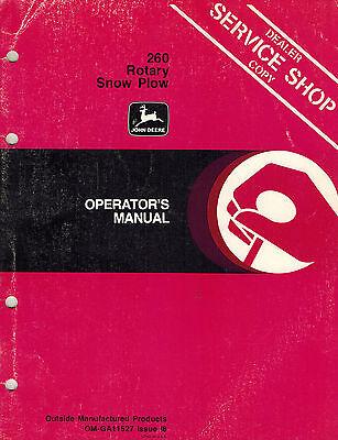 John Deere 260 3-point Rotary Snow Plow Snowblower Operators Manual Jd New