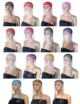Cleopatra Dance Costume (Cleopatra Beaded Belly Dance Costume Headpiece Headwear Cap Hat Tassel)