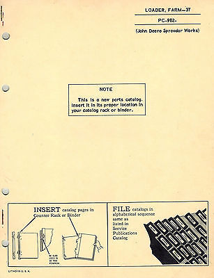 John Deere Vintage 37 Loader Parts Manual