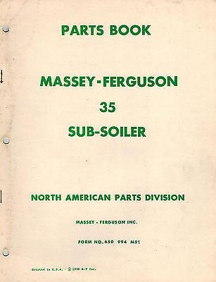 Massey Ferguson 35 Subsoiler Parts Manual