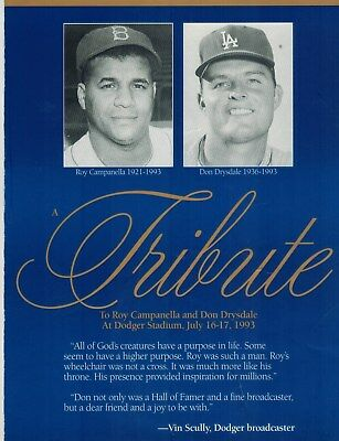Los Angeles Dodgers Tribute to Roy Campanella and Don Drysdale