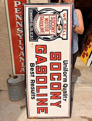 """Huge 60"""" X 24"""" Socony Gasoline Porcelain Sign Clean Gas & Oil Garage Shop"""