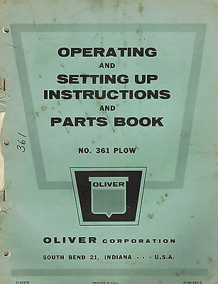 Oliver Vintage 361 Mtd. Plow Operators Parts Manual