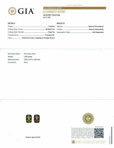 GIA Certified 1.05 Ct Natural Alexandrite Cushion Unheated Gemstone