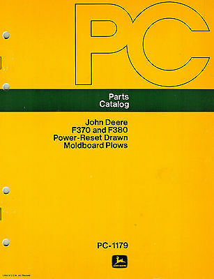 John Deere Vintage F370 F380 Power Reset Drawn Plows Parts Manualnew Jd