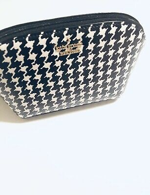 KATE SPADE NEW YORK Small Dome Cosmetic Makeup Bag Cameron St Houndstooth $78