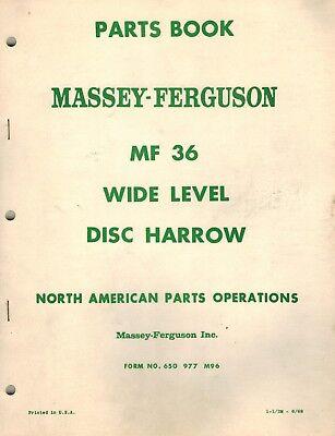 Massey Ferguson 36 Wide Level Disc Harrow Parts Manual 1968