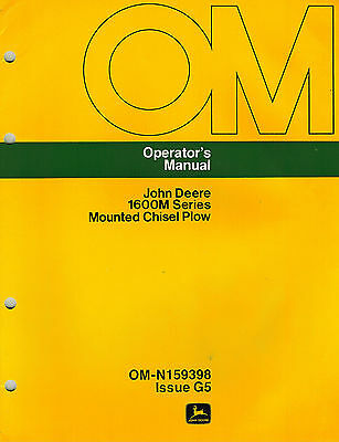 John Deere 1600m Series Mounted Chisel Plow Operators Manual New Jd