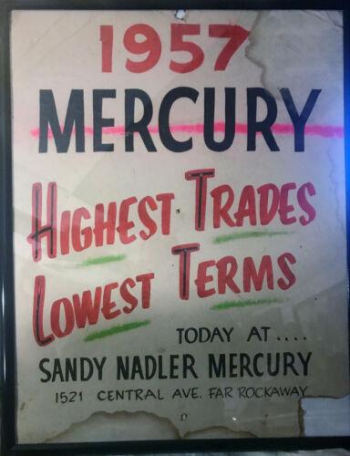 Vintage 1957 Sandy Nadler Mercury Far Rockaway New York  Automobile Dealer Sign