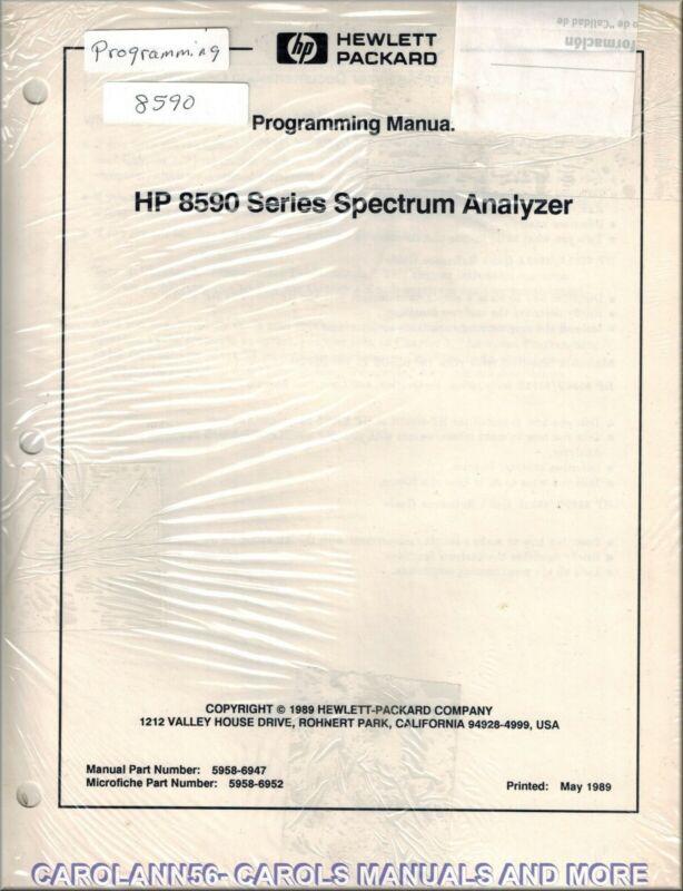 HP Manual 8590 SERIES SPECTRUM ANALYZER