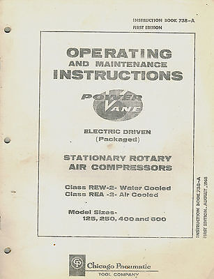 Chicago Pneumatic Vintage Rew-2 Rea-2 Rotary Air Compressor Parts Manual 1965
