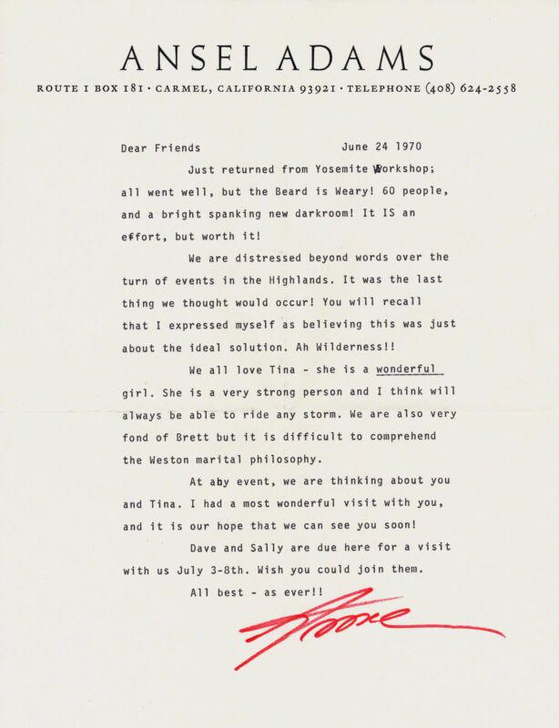 Rare & Interesting Ansel Adams Letter Brett Edward Weston Photo Autograph Signed
