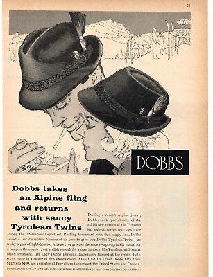 1960 DOBBS Tyrolean Hat Men's & Women's art Vintage Print Ad