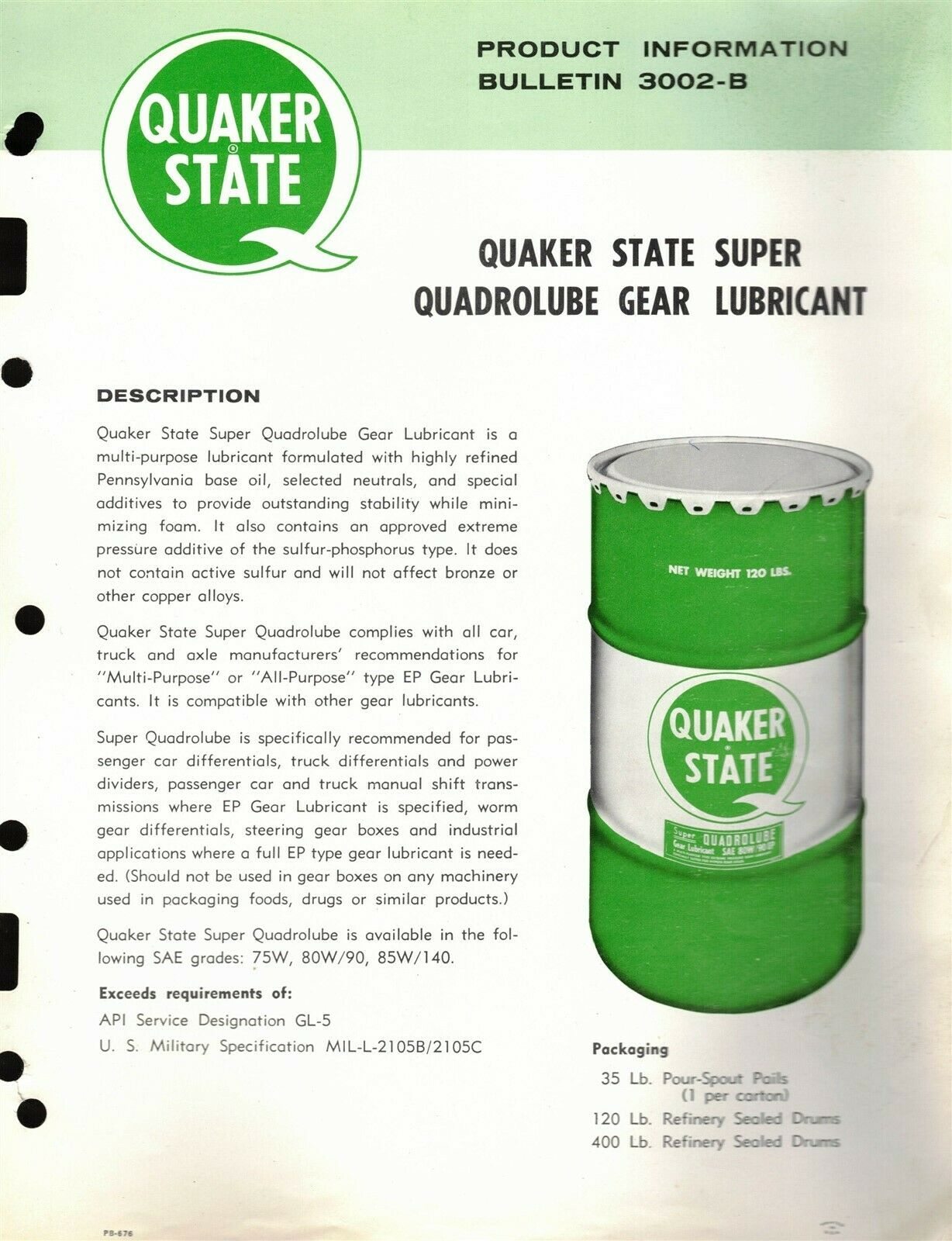 Vintage  Quaker State Recommended Lubricants Catalog 1976-1986