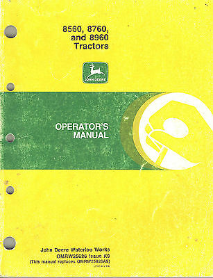 John Deere 8560 8760 8960 Tractor Operators Manual W