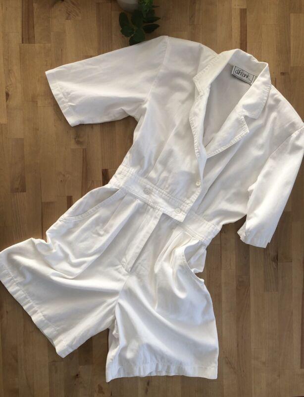Vtg 80s D.FRANK White Bermuda Romper Shorts Shoulder Pads Pockets Jumpsuit