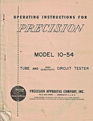 Operating Instructions For Precision Model 10-54 Tube Tester Precision Apparatus