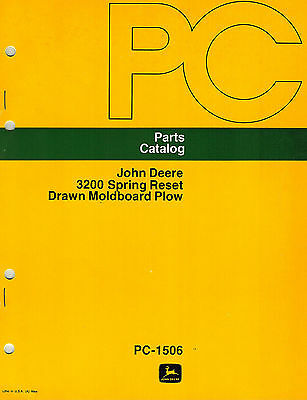 John Deere Vintage 3200 Drawn Spring-reset Plows Parts Manual New Jd