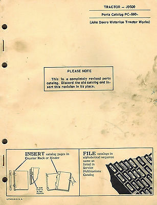 John Deere 500 Industrial Vintage Tractor Parts Manual Pc-860 1969