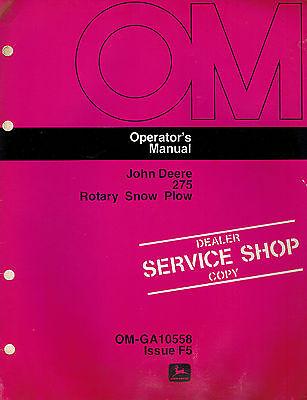 John Deere 275 3-point Rotary Snow Plow Snowblower Operators Manual Jd New