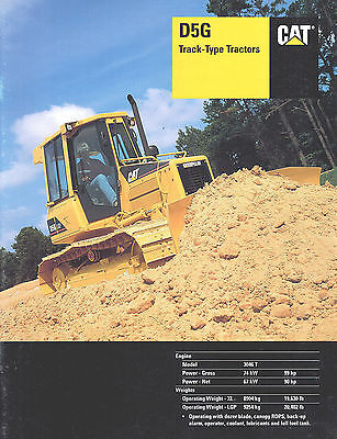 2001 Caterpillar D5g Track Tractor 23 Page Brochure