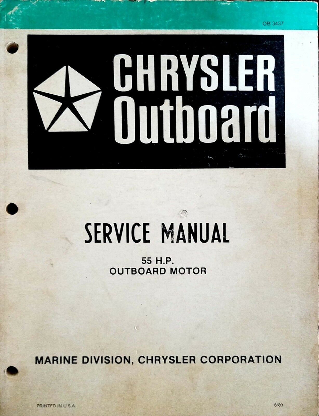 Chrysler Outboard Service Manual for 55HP