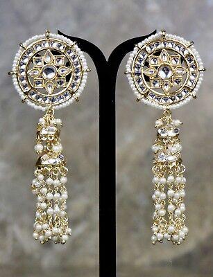 Indian Pakistani Bollywood Jhumki Pearl Moti White Color Crystal Earring 1204